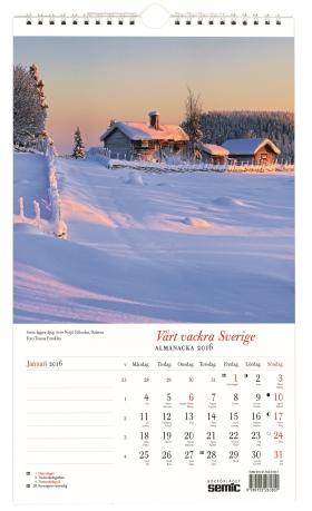 Vårt vackra Sverige almanacka 2016