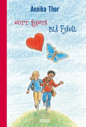 Rött hjärta blå fjäril