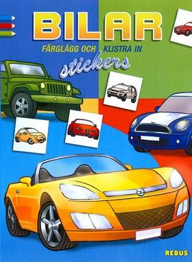Bilar - Färglägg och klistra in stickers