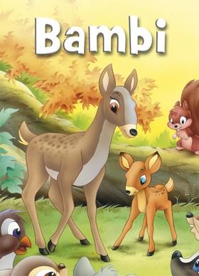 4 Mini-sagor i display: Bambi, Robin Hood, Peter Pan och Den fula ankungen.